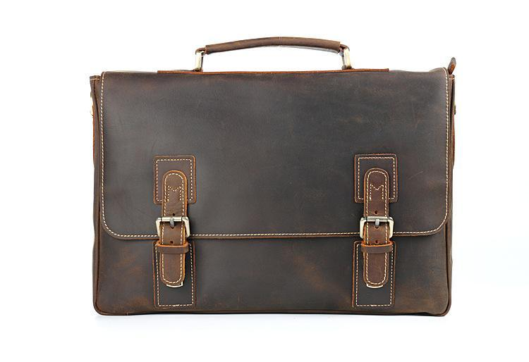 "Vintage Crazy Horse Briefcases Men 100% Really Genuine Leather Messenger Bags 15"" Laptop Handbags Cow Leather Business Bag"