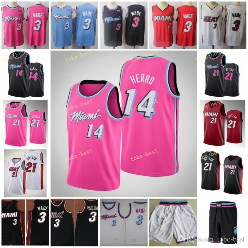 brand new 75684 2caab 2019 New Miami Dwyane 3 Wade Jerseys Red White Black Pink Tyler 14 Herro  Cheap Mens Goran 7 Dragic Jimmy 21 Butler Basketball Jersey Short
