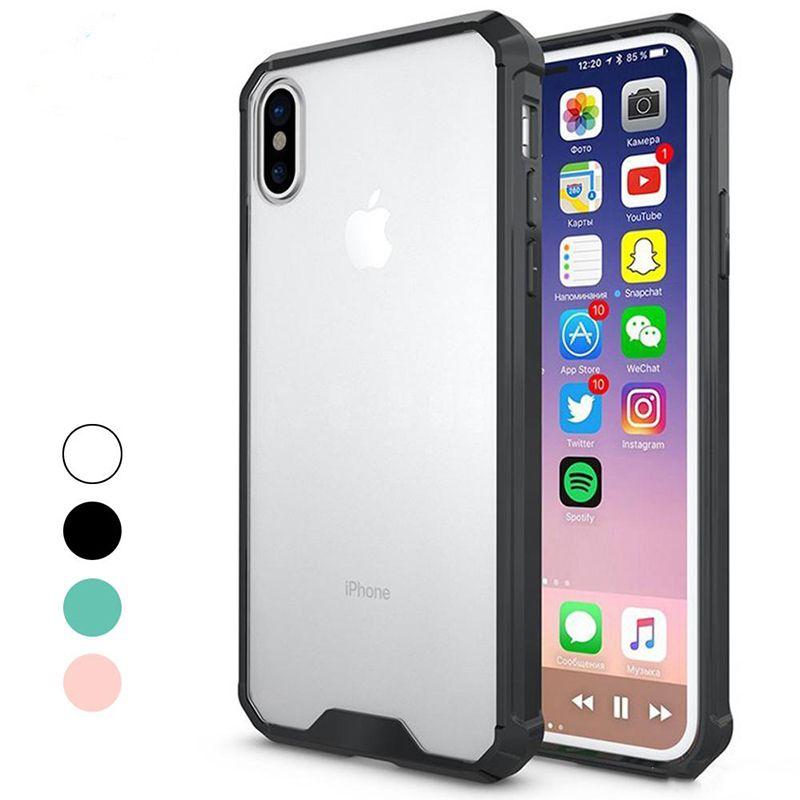 huge sale da007 4c013 For iphone 6 7 8 plus iPhone X 4 colors Luxury Case Slim Hybrid Hard PC  Back & Soft TPU Bumper Edge Case For samsung s7 edge s8 plus note8