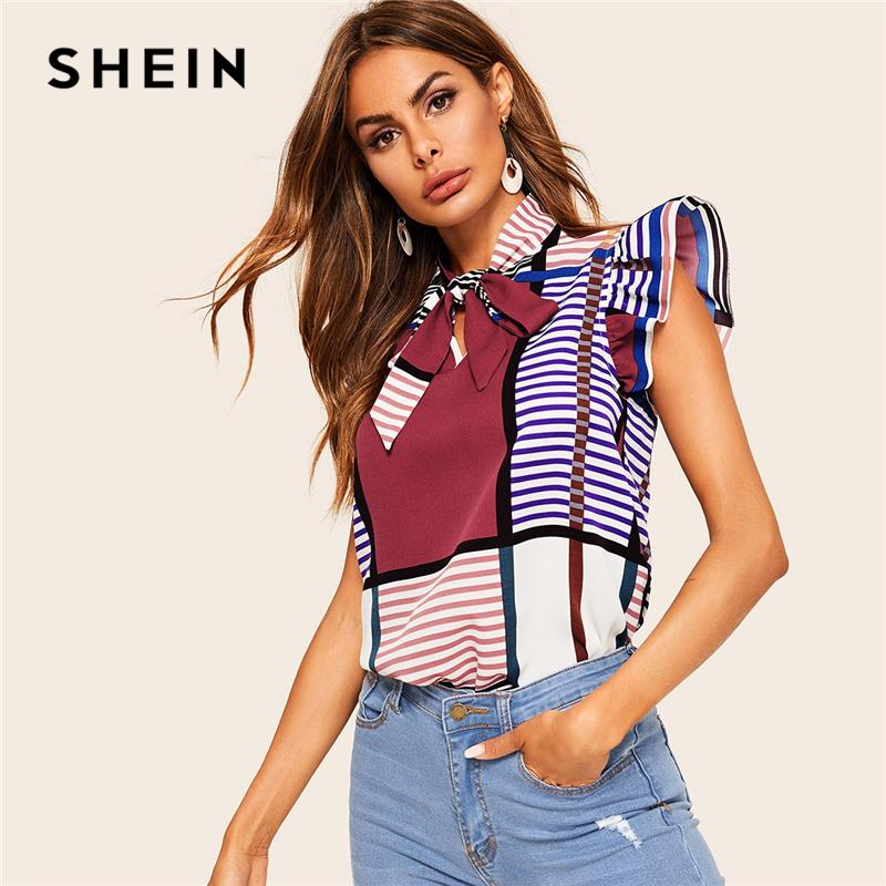 b15e24f6f SHEIN Classy Multicolor Tie Neck Ruffle Armhole Stripe Top Sleeveless  Blouse Women Summer Color-block Vintage Tops and Blouses Y190423
