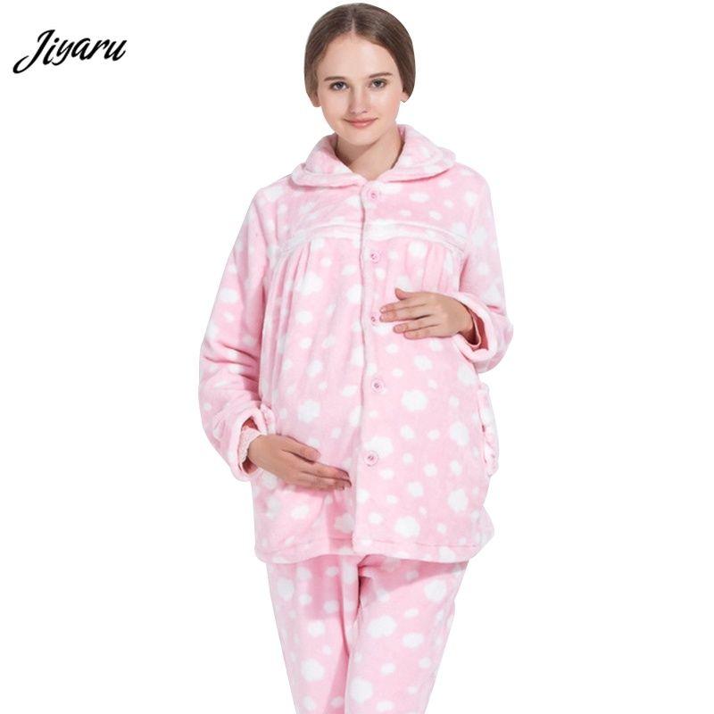7395d01ce Compre Nueva Pijama De Enfermería De Invierno Para Embarazadas Con Ropa De  Maternidad Para Dormir Lounge Pijama Para Embarazadas Lactancia Gravimenta  Ropa ...