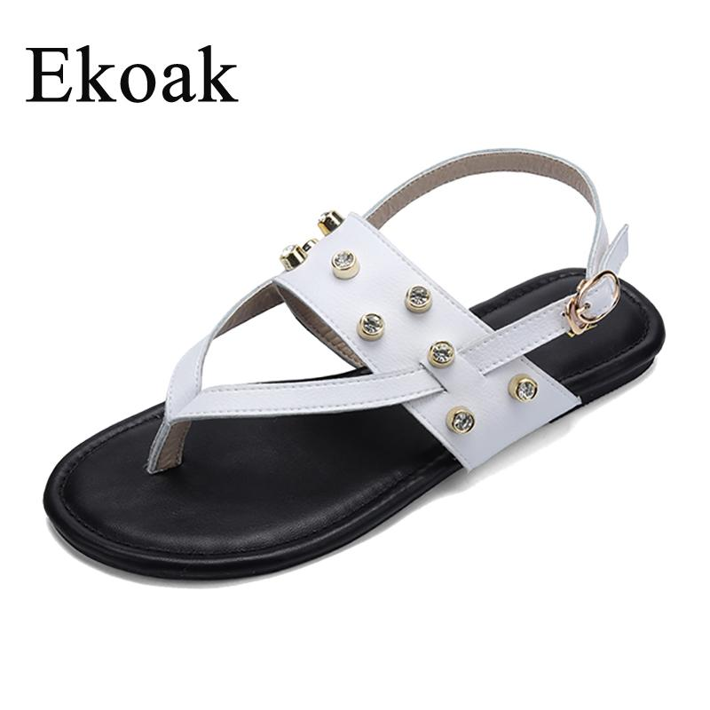 ab36065b85fe Ekoak Genuine Cow Leather Pearl Dress Summer Fashion Women Sandals Shoes  Woman Flip Flops Ladies Girls White Beach Flat Sandals Sexy Shoes Sandels  From ...