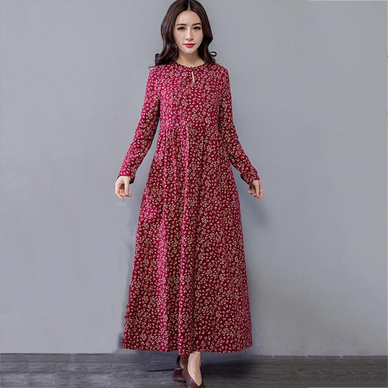 4ced744d6f11 Long Sleeve Dress 2019 Spring Summer Cotton Linen Dresses Women Casual  Floral Print A Line Party Dress Vestidos Black Dress Cocktail Dress From  Cozywine