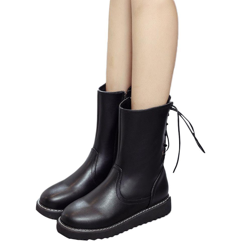 fe1b19ce5fce1 Compre YOUYEDIAN Botas De Cuero Para Mujer Botas Redondas Con Punta Redonda  Para Mujer Zapatos Planos Botas Cortas Scarpe Donna Elegante   J4 A  28.7  Del ...