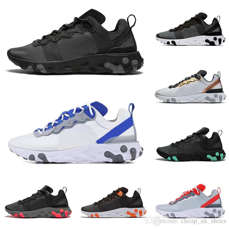 895927e6b8 React Element 55 top quality men women running shoes triple black white  green Orange ROYAL RED mens trainers sports sneakers free shipping
