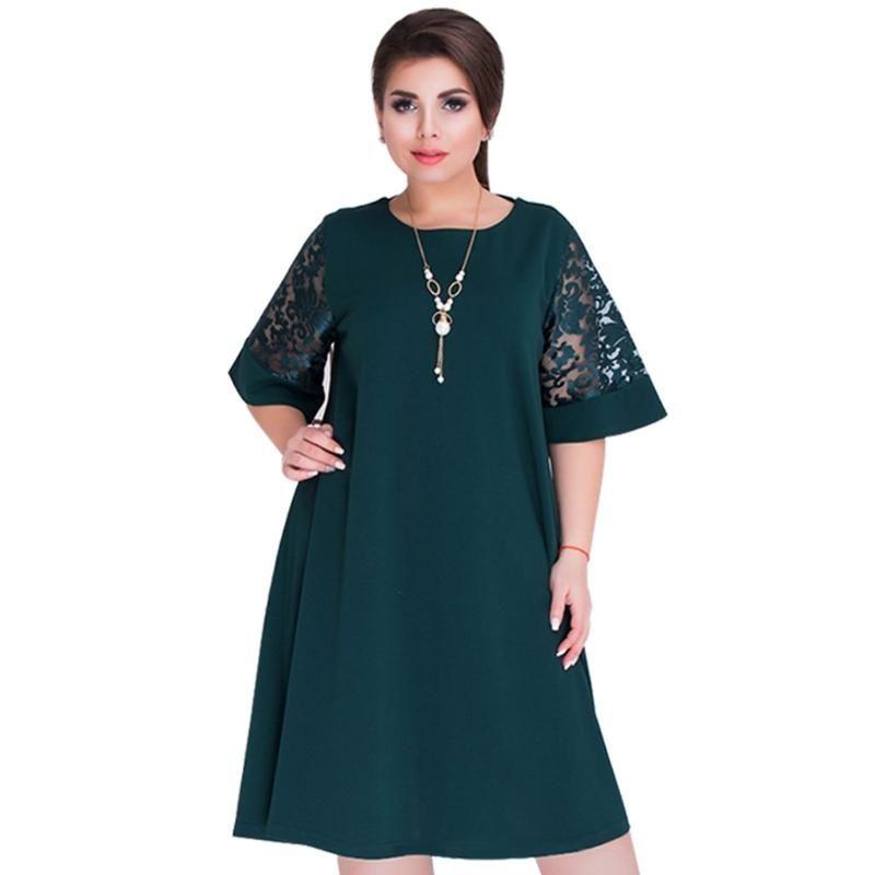 2018 Splice Loose Lace Summer Dresses Plus Size Women Knee-Length Office  Dress