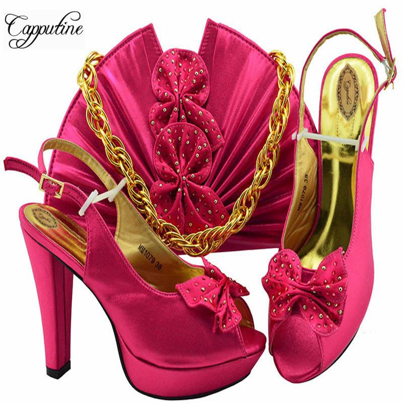 1a36464fae7 Newest African Flowers Shoes With Bag To Match Sets 2019 Italian Pumps  10.5cm Shoes With Purse Set For Wedding Usage M1079