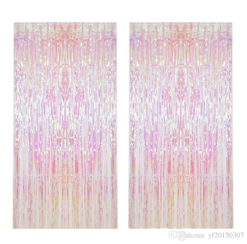 Shiny Rain Curtains Rainbow Color Metallic Foil Fringe Wedding Decoration Photography Background Supplies
