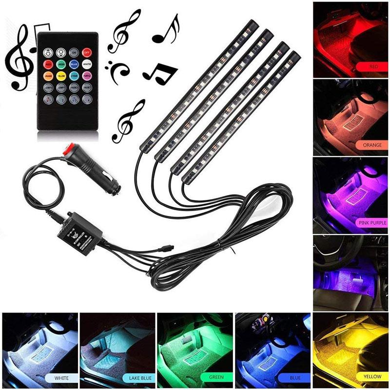 Car LED Strip, 48 LED Multicolor Car Interior Light Waterproof Kit With Sound Active Function, Car Charger / USB