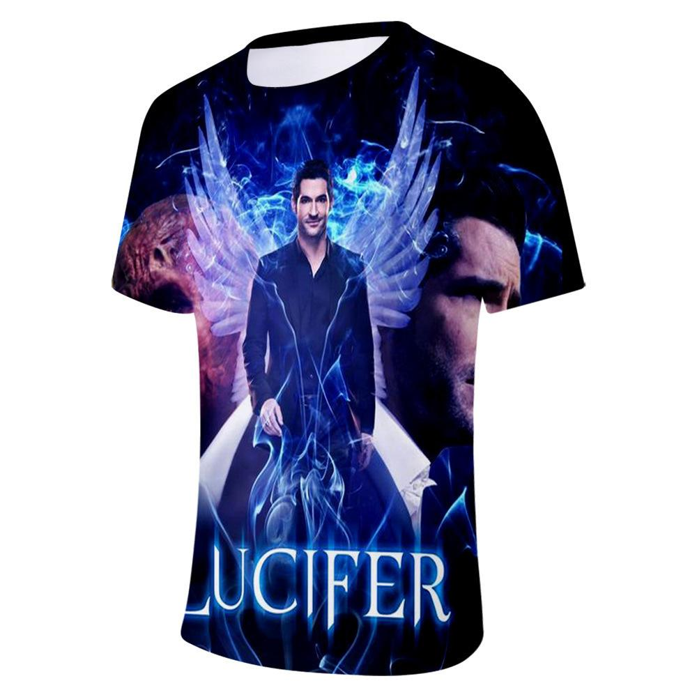 2019 Heat Search Lucifer Lucifer Beautiful Drama Periphery 3d Number Short Sleeve T Pity Easy Ventilation