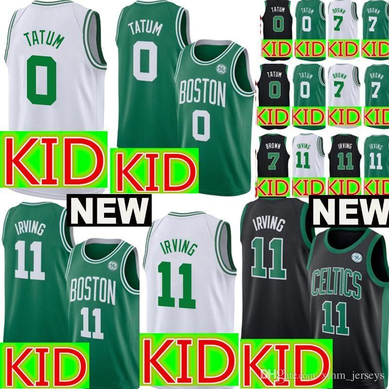 c937482ef Kids Boston 11 Kyrie Irving Celtics Jersey Youth 0 Jayson Tatum 7 ...