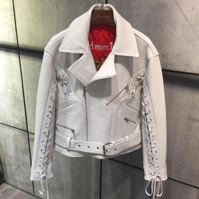 the latest dae0f 06edd Fandy Lokar Echte Lederjacke Frauen Mode Krawatte Gürtel Ärmel Jacke Mantel  Frauen Echte Lederjacken Weibliche Damen 2019