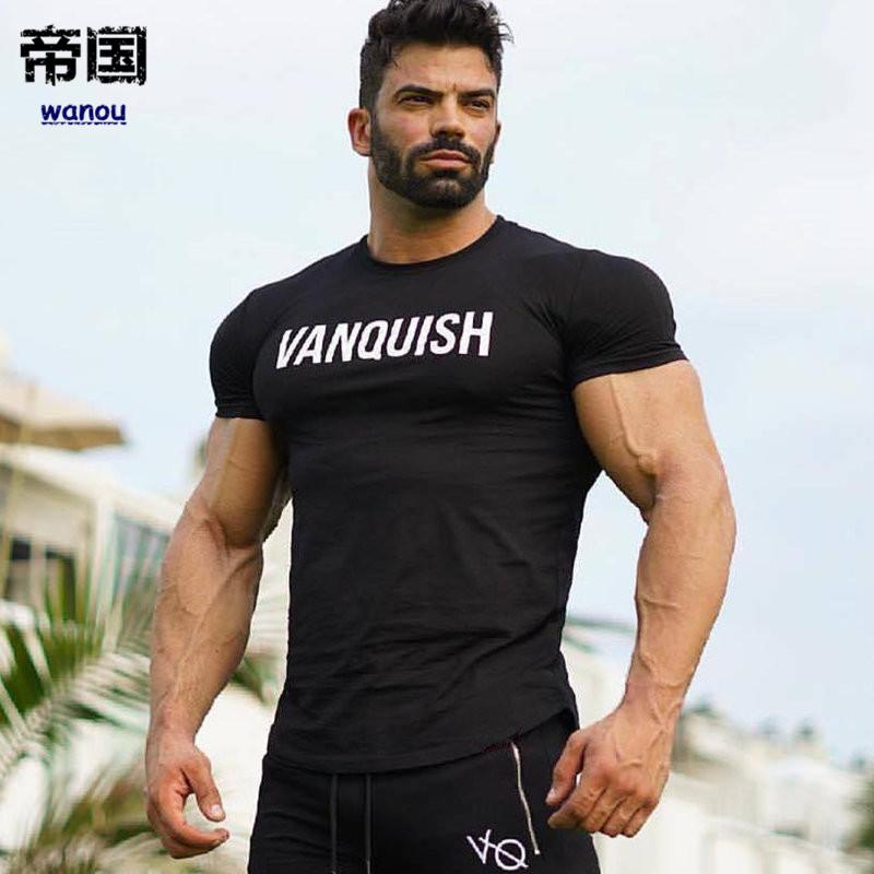 f5c1a7723fd4 Men Running Cotton Short Sleeve T Shirt Gym Fitness Bodybuilding Training T  Shirt Male Jogging Workout Slim Tees Tops Clothing Cheap T Shirt Design  Your T ...