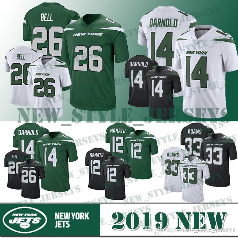 the latest c75eb f2952 26 Le'Veon Bell jersey New York Men Jets 14 Sam Darnold 33 Jamal Adams 57  C.J. Mosley 12 Joe Namath Football Jerseys