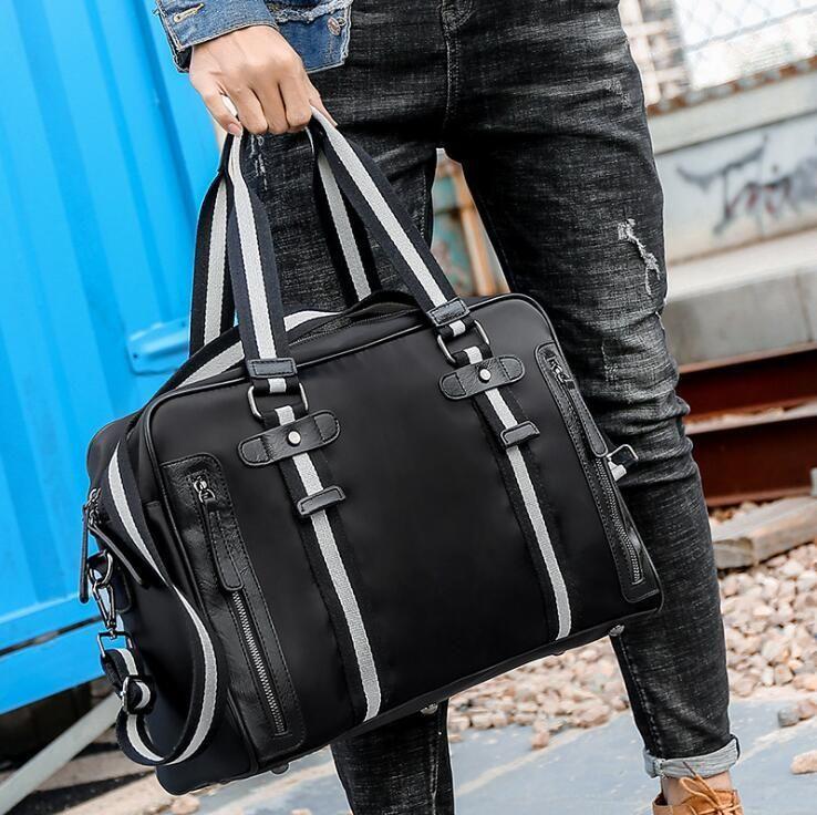 e58021d28 Wholesale Brand Men Handbag High Quality Waterproof Nylon Travel Bag  Fashion Horizontal Stripes Men Handbag Ribbon Decorative Fashion Travel  Cheap Handbags ...