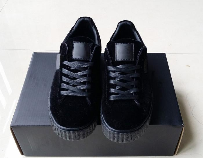 purchase cheap ce404 efe6c Velvet Rihanna x Suede Creepers 2019 new Rihanna Creeper Grey Red Black  Women Men Fashion cheap Casual Shoes sneakers With Double box A 071