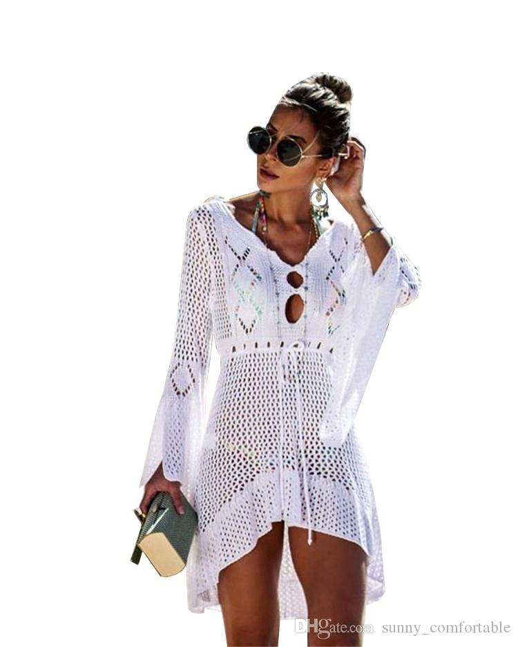 Knit Beach Cut-out Cover up Dress Swimsuit Smock Bikini Smock Sun Protection Multicolor For Holiday