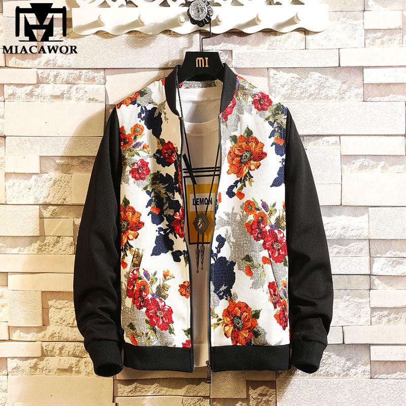 59e230cd4b86b 2019 New Bomber Jacket Men Spring Autumn Floral Men Coats Casual ...