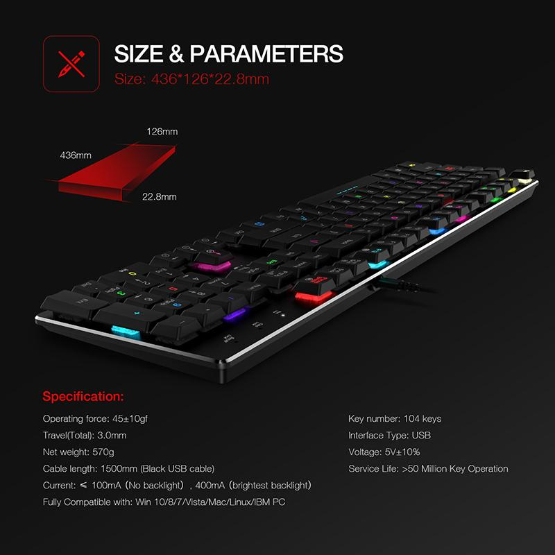 8c153dc9816 HAVIT Gaming Mechanical Keyboard RGB Backlit Wired Extra Thin Low Profile  Kailh Blue Switches 104 Keys English/US/Germany/Japan Keyboard For Sale  Keyboard ...
