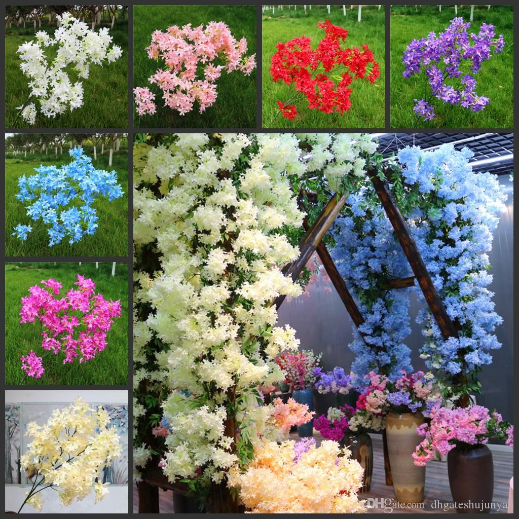 Artificial Cherry Spring Plum Peach Blossom Branch Silk Flower Home Wedding Decorative Flowers Plastic Peach Bouquet