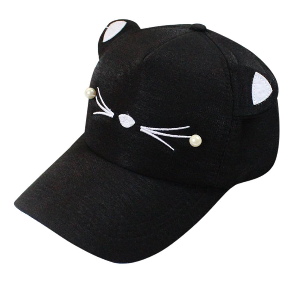 a471513c94b Snapback Cute Cat Ears Hat Adult Net Baseball Cap Summer Women S Hats 2019  Brand Lovely Cartoon Adjustable Girl Mesh Cap Gift  O Custom Caps Cool Caps  From ...
