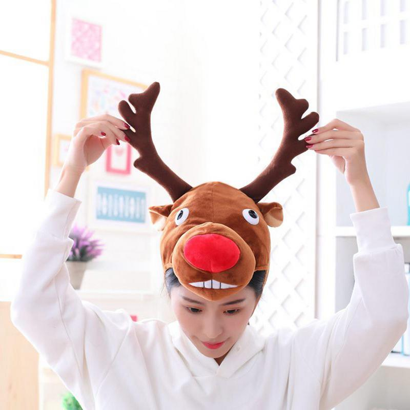 515d70c918a 2019 Cartoon Elk Hat Cosplay Costumes Accessories Cap Plush Toy Adult  Wapiti Head Fancy Cap Take Photos Halloween Christmas Dress Up From  Pearguo