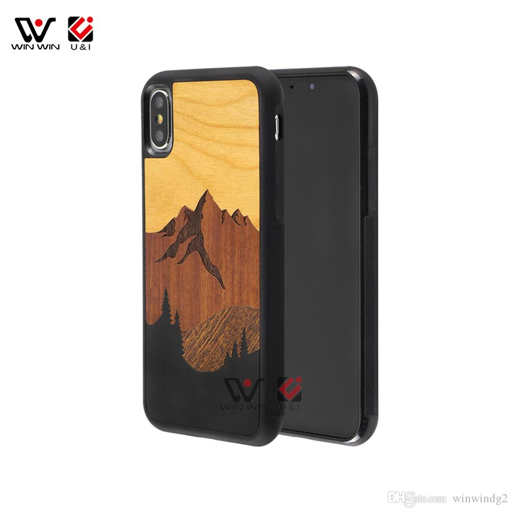 newest 92971 f1bad Amazon Top Seller 2019 Mount Wood Mobile Cell Phone Case For iPhone 6 7 8 X  XI XR XS Max