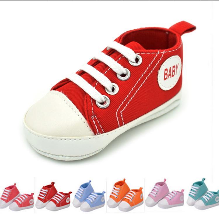 0bddb9840 Compre 0 18 Meses Baby First Walkers Zapatos De Lona Newborn Infant Toddler  Baby Boy Girl Suela Inferior Suave Zapatos De Cuna Zapatillas Deportivas es  ...