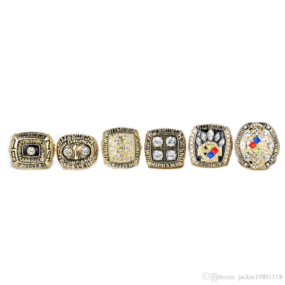 wholesale PITTSBURGH 1974 1975 1978 1979 2005 2008 STEELER Championship RING Gold FREE SHIPPING US SIZE 8-14#