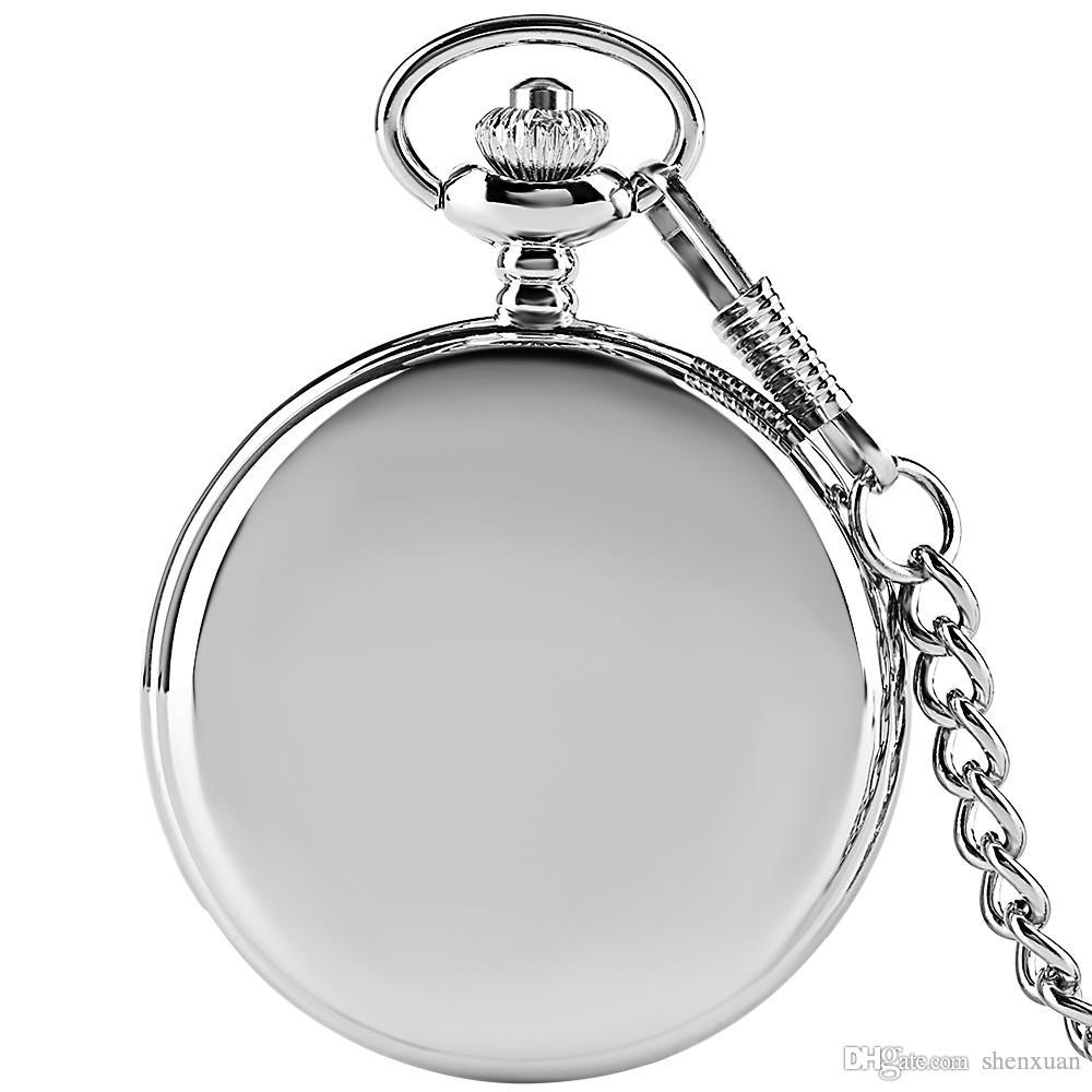 Men Pocket Watch Silver Smooth Dial Causal Women Pendant Full Hunter Quartz Fob Clock Stainless Steel Chain Child Gift