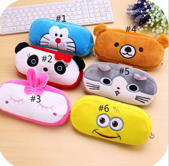 2019 New Kawaii Cute Animal Soft Plush Pen Case Coin Purse Cosmetic Makeup Pouch Storage Kids Birthday Gift