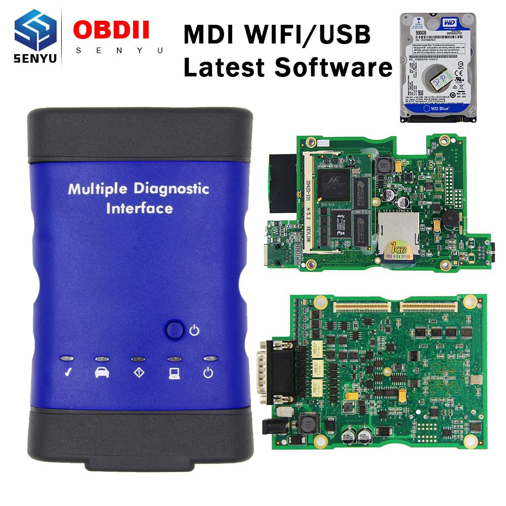MDI Para GM Com HDD 500G V2019.04 múltipla OBD OBD2 WIFI Scanner carro diagnóstico ferramenta Auto MDI WI FI USB interface Multi Language