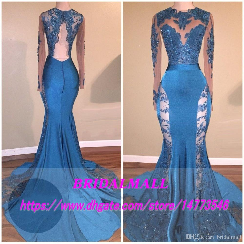 Sexy 2019 Hunter Jade Lace Sheer Prom Dresses Keyhole Neck Mermaid Long Sleeves See Through Formal Evening Gowns Backless Sequin Party Dress