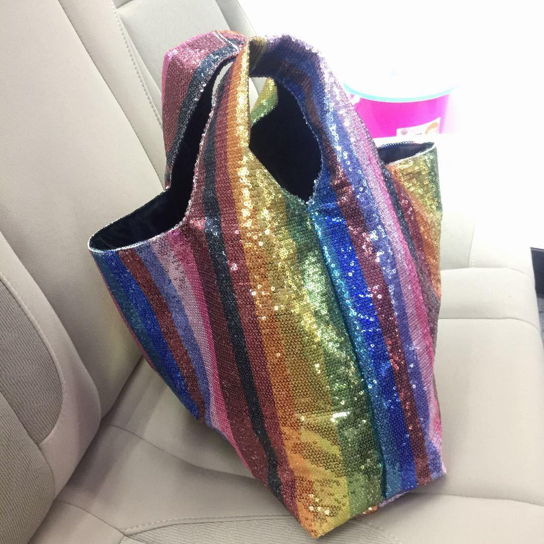 Tout Pochettes Dames Glitter Sequin Fourre Rainbow Lla418 Multicolore Sac Partie Plage Coloré Stripe Femmes À Main erQCxBoWd