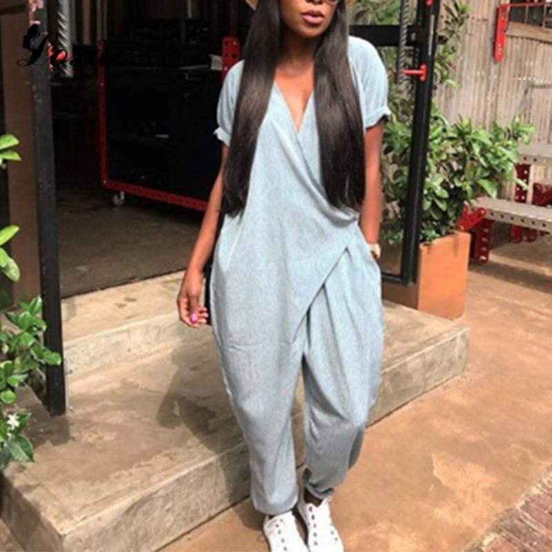 80c7795c25 2019 Women Girls Loose Solid Jumpsuit Sexy V Neck Dungaree Harem Trousers  Side Strap Ladies Overall Pants Casual Playsuits Harajuku From Dayup