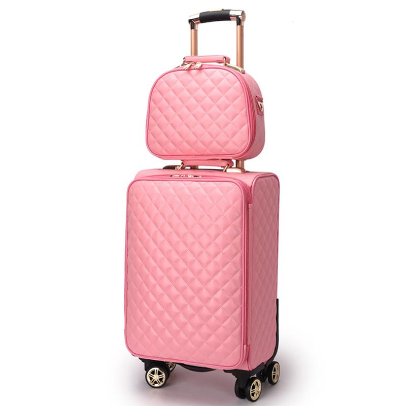 Luggage & Bags Girls Fashion Trolley Suitcase Light Trolley Bag Hand Luggage Bag Women Carry On Rolling Luggage Boarding Trolley Case 16 Inch Luggage & Travel Bags