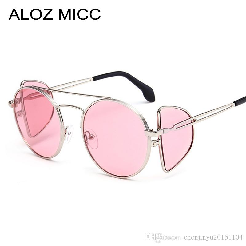 82b7985185 ALOZ MICC Women Round Steampunk Sunglasses Women Vintage Black Mirror  Circle Glasses Female Shades Metal Frame Shields A175 Cheap Eyeglasses  Online ...