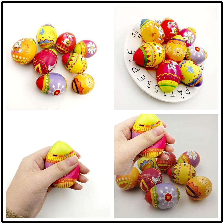 Easter Gifts Squishy Easter Eggs Slow Rising Jumbo Multicolor Eggs Stress Relieve Animals Ball Toys Squeeze Decompression Toys Cosplay