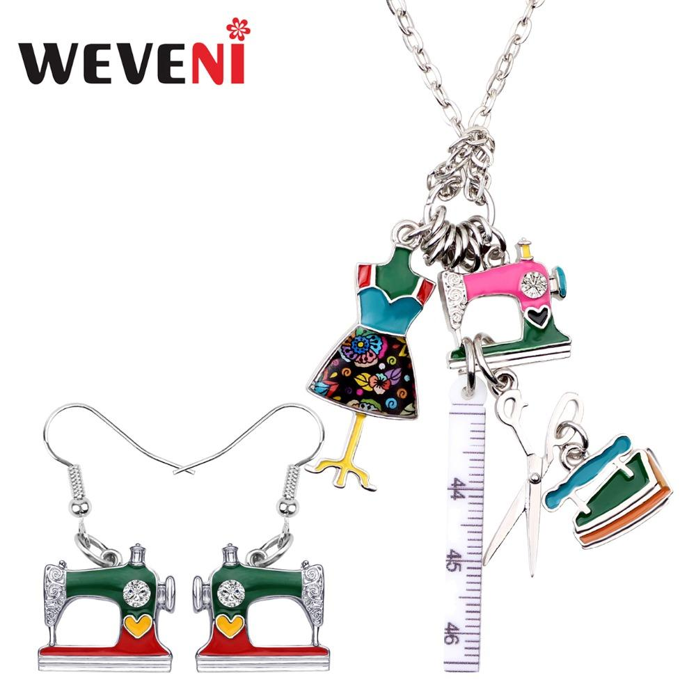 WEVENI Enamel Alloy Sewing Machine Tools Ruler Scissors Tailor Iron Earrings Necklace Retro Jewelry Sets For Women Girls Gift