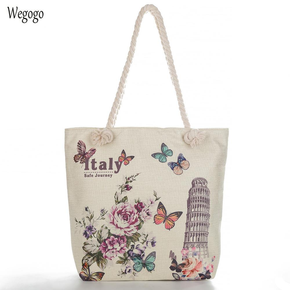 477cd38f31f1 2019 New Women Floral Eiffel Tower Printed Casual Tote Shoulder Bag Canvas  Ladies Beach Bag Large Capacity Woman Shopping Bags Designer Handbags  School Bags ...