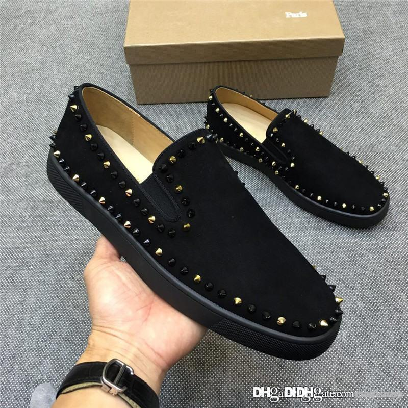 32ffb7b5a9d 2018 Christian ChristianLoubou Roller Boat Flat Men s Shoes Sneakers Black  CL Red BottomsNewboutinss Shoes With Box