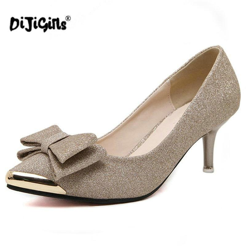 98e61a158a Designer Dress Shoes Dijigirls Women Pumps High Heels 2019 Bowknot Pointed  Stiletto Work Sexy Sequins Shoe Zapatos Mujer Black Gold Silver Summer Shoes  ...