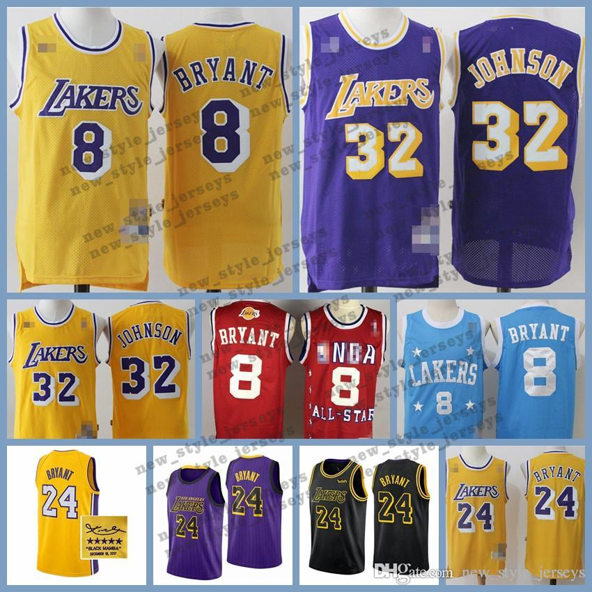 huge discount 444be 0d560 Kobe Los Angeles Retro Laker jersey 24 Bryant Johnson 32 James Earvin  LeBron Ness Classics Basketball Jersey