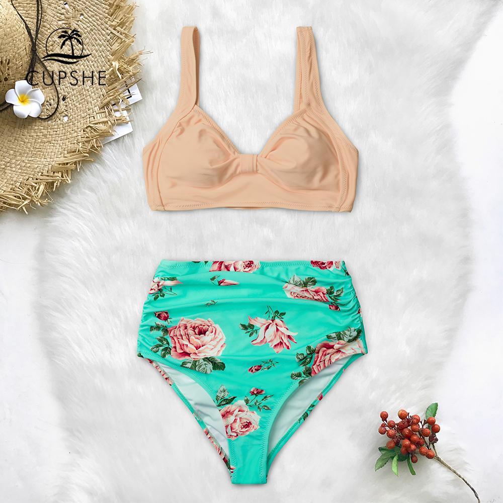 70995f5f3a234 CUPSHE Rosa Und Grün Floral Hohe taille Bikini Sets Frauen Herz Hals Nette  Zwei Stücke Badeanzüge Frauen Sexy Strand Badeanzüge