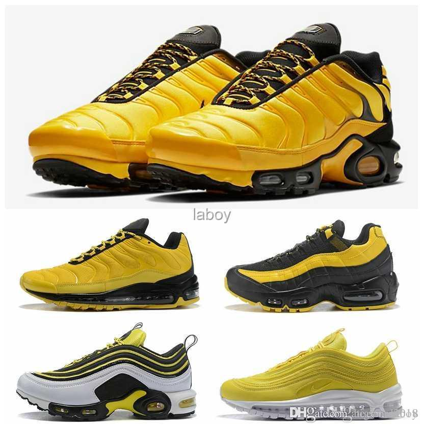 264083fc5b64 2018 New Arrival 95 TN Plus Yellow Frequency Pack Sports Womens Mens  Running Shoes High Quality Men Womans Trainers Designer Sneakers Men  Running Shoes Best ...