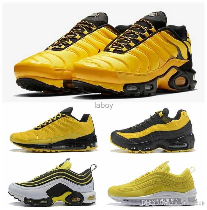 new style 96336 a44c3 Compre Nike Air Max Maxes 2018 Nueva Llegada Airmax 95 TN Plus Amarillo  Frequency Pack Sports Womens Hombre Zapatillas De Running Alta Calidad  Hombres ...