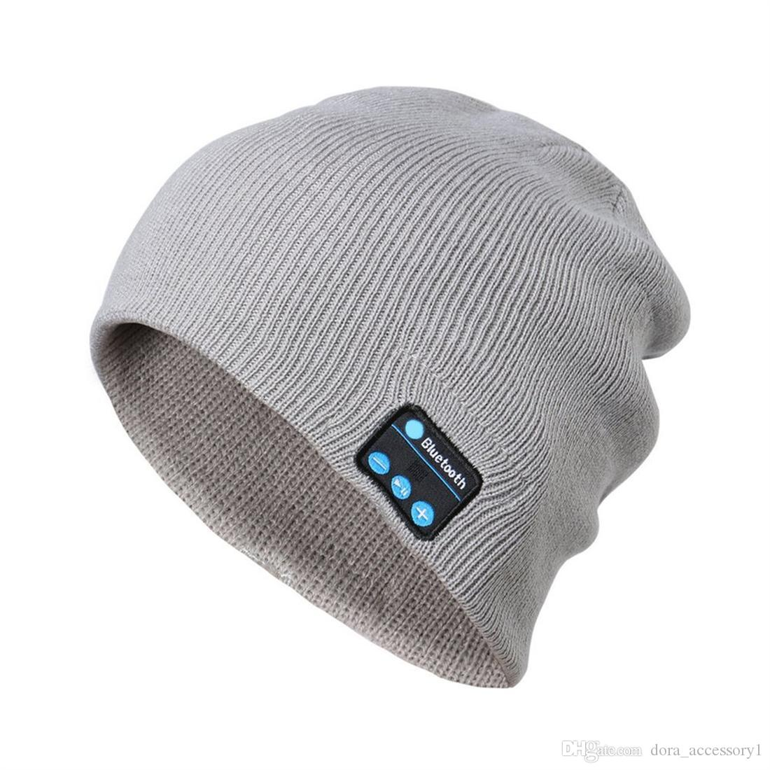 19027ef02de 2019 Rushed Time Limited Beanie Skull Cap Grey Unisex Spring   Fall Dora  Bluetooth Music Hat Winter Warm Beanies Knitted With Mic For Sports  Headwear ...
