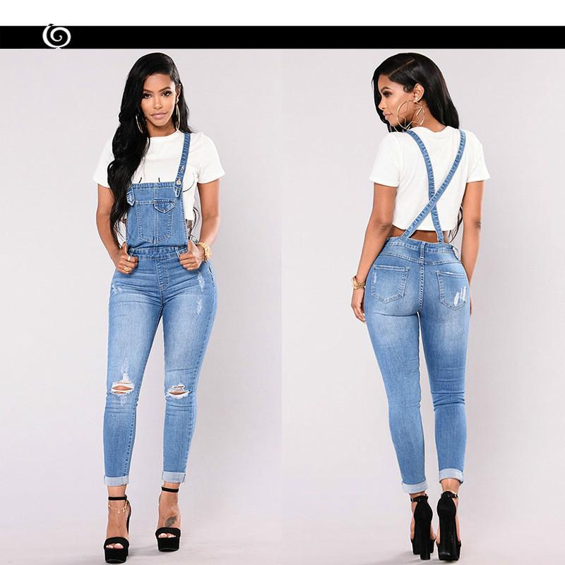 factory 50% off special price for Qmgood Denim Overalls Woman 2018 Jean Jumper Female Denim Jumpsuit Sexy  Suspenders Pants Women Trousers High Waist Ripped Jeans J190425