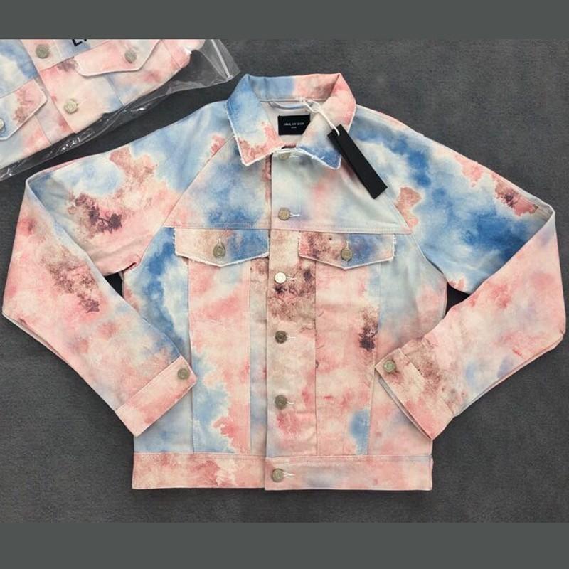 1c0ce1f2b 18FW FOG FEAR OF GOD Tie Dyeing Denim Jacket Black Fashion Loose Casual  Jacket Street Coat Men Women Denim Jacket Outwear HFLSJK284