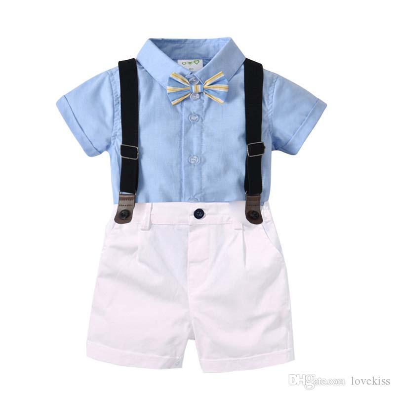 e3af4276537ff Acheter 2019 Nouveau Bébé Garçon Vêtements Garçons Vêtements Ensembles  Chemise + Jarretelles Pantalons Shorts Pantalons Infant Outfits Nouveau Né  Costumes ...